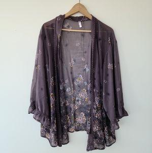 Flowy floral kimono cardigan